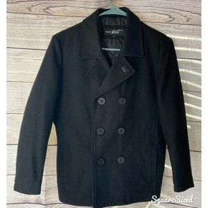Black Rivet black peacoat double breasted EUC 12